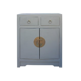 Gray Lacquer Moonface End Table Nightstand Cabinet For Sale