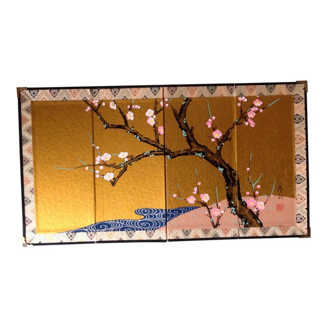 Chinese Cherry Blossoms Hand Painted Screen For Sale