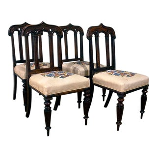 English Gothic Chairs - Set of 4 For Sale