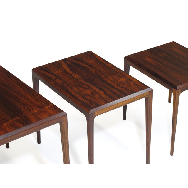 Rosewood Johannes Andersen for Cf Christensen of Silkeborg Nesting Tables For Sale - Image 10 of 11