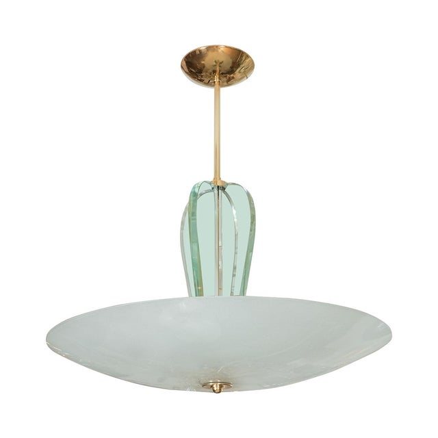 1960s Brass and Glass Pendant Fixture For Sale - Image 5 of 5