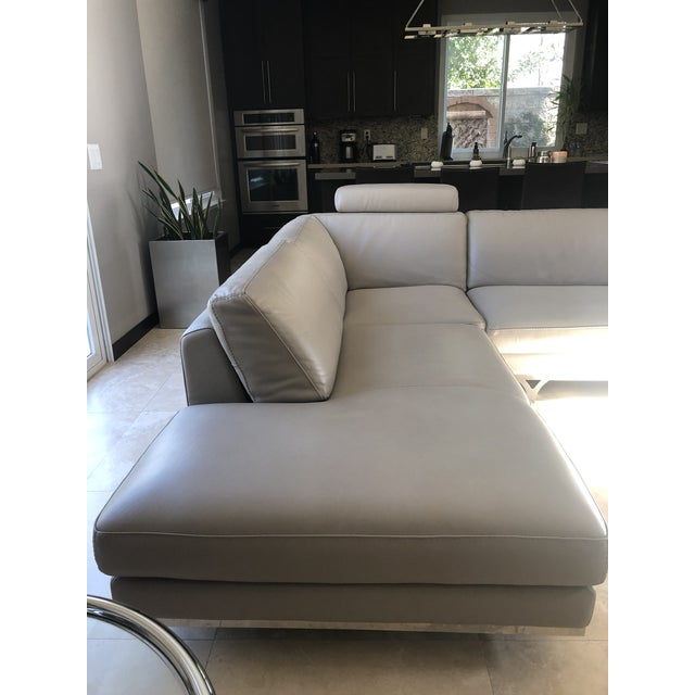 Contemporary Modern Roche Bobois Gray Leather Sectional Sofa For Sale - Image 3 of 11