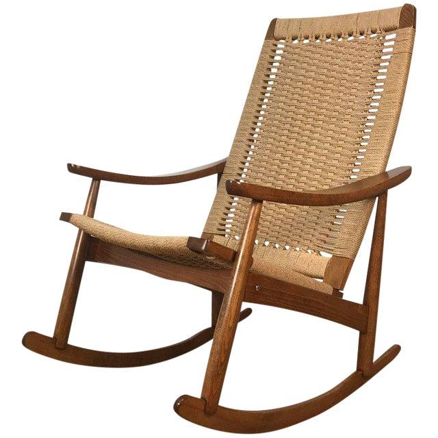 Mid-Century Wegner Style Rocking Chair - Image 1 of 6