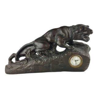 1930s French Art Deco Panther Sculpture and Clock For Sale