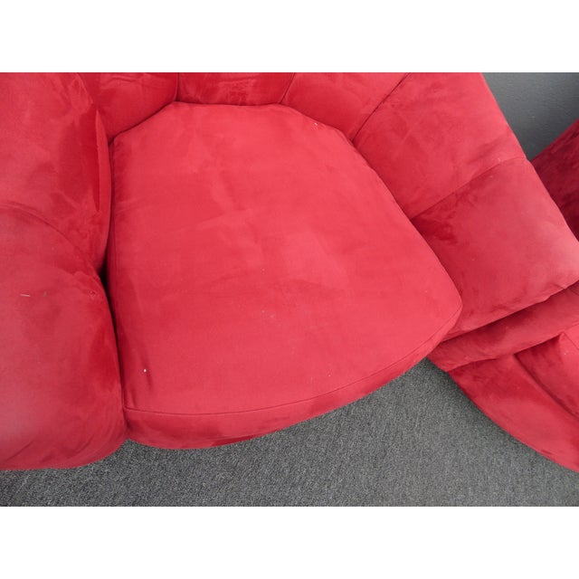 1970s Mid Century Modern Milo Baughman Style Red Swivel Chairs - a Pair For Sale In Los Angeles - Image 6 of 13