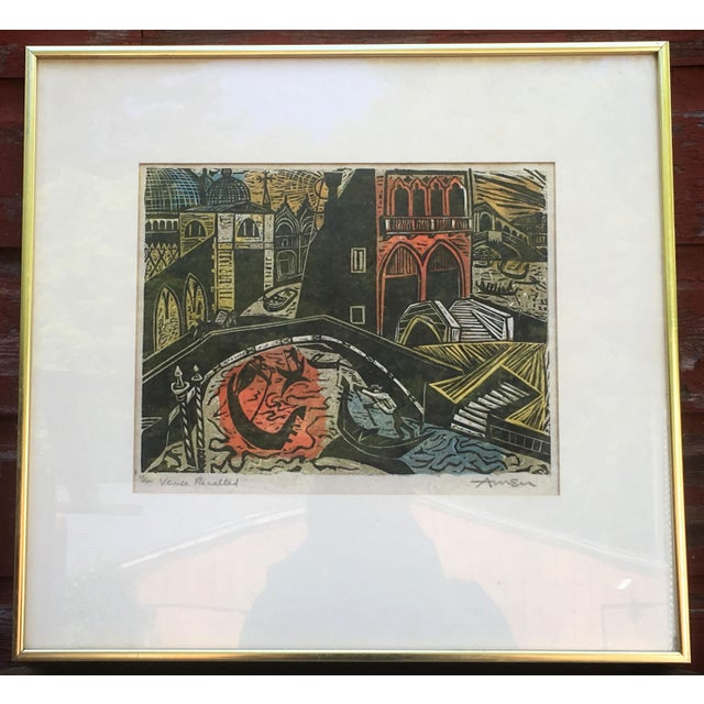 Here is a stunning vintage mid century modern woodblock print by Irving Amen, titled 'Venice Recalled', c.1954. This...