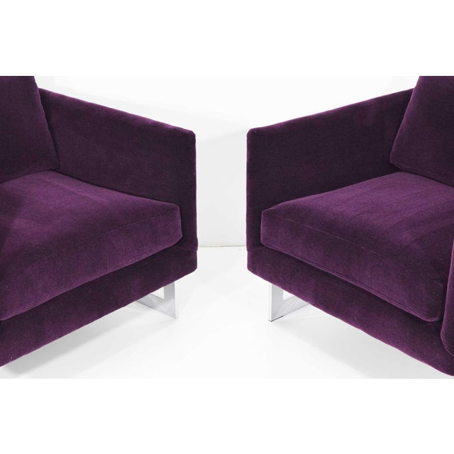 Silver Milo Baughman T-Back Cube Chairs in Maharam Mohair - a Pair For Sale - Image 8 of 13