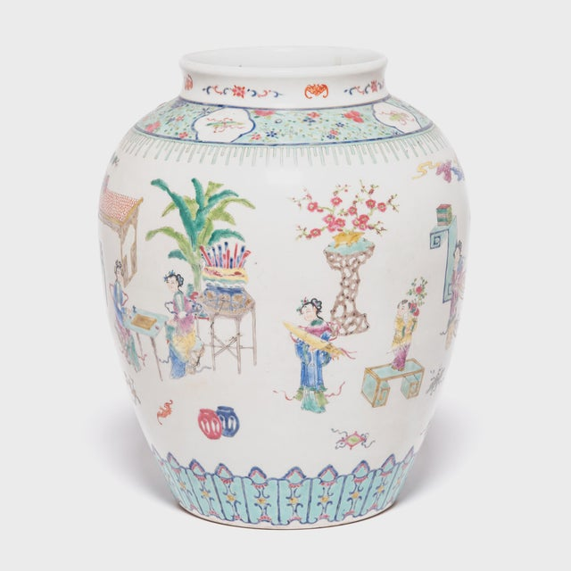 Well-dressed ladies and spritely children engage in domestic pastimes in this brilliantly detailed porcelain vase. An...