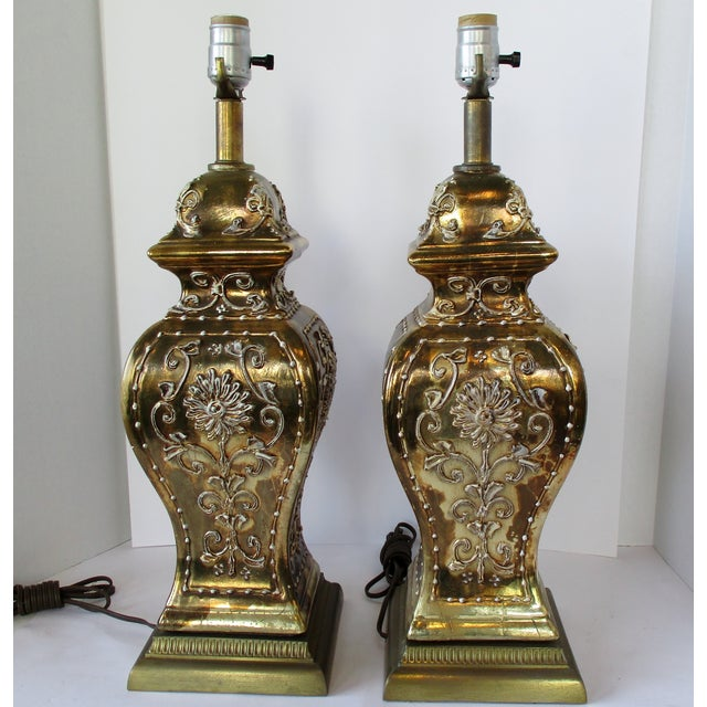 Gold Ginger Jar Lamps, a Pair For Sale - Image 4 of 9