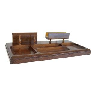 Vintage Danish Modern Wooden Desk Organizer For Sale
