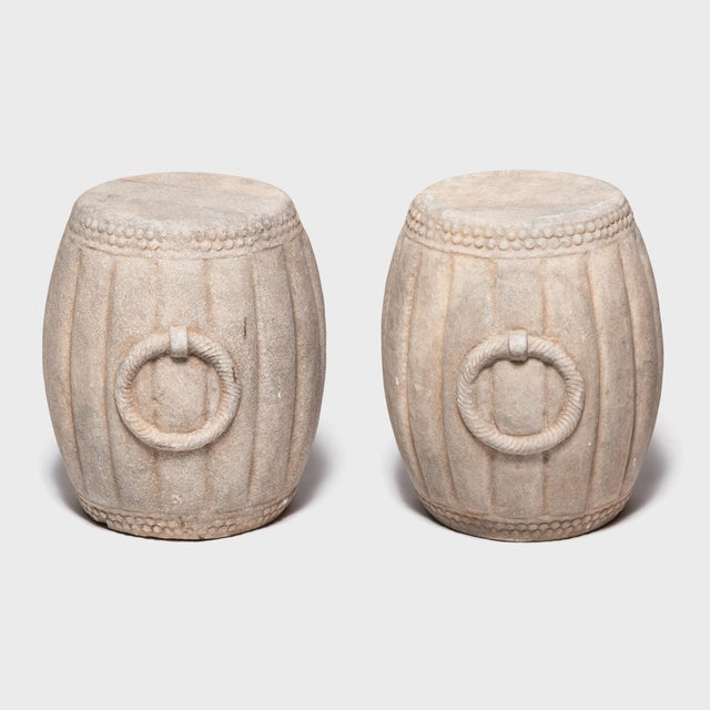 Chinese Melon Form Marble Drum Table For Sale In Chicago - Image 6 of 7
