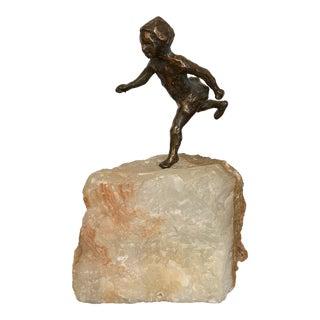 1950s Vintage Curtis Jere Bronze Running Child on Quartz Stone Sculpture For Sale