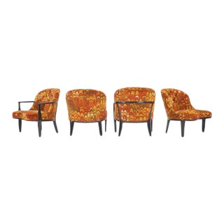 Four Janus Chairs Edward Wormley for Dunbar. Original Jack Lenor Larsen Fabric For Sale