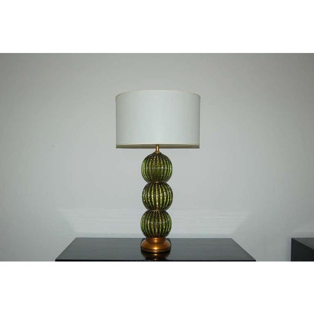 Vintage Murano Glass Stacked Ball Table Lamps Bubbles Green Gold For Sale In Little Rock - Image 6 of 9