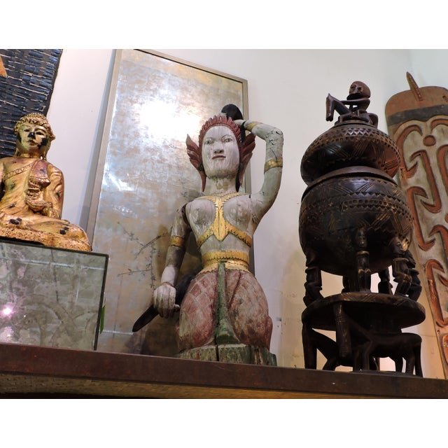 Carved Wooden Statue of Phra Mae Therani, the Thai Earth Mother Goddess Wringing the Cool Waters of Detachment Out of Her Hair For Sale - Image 4 of 7