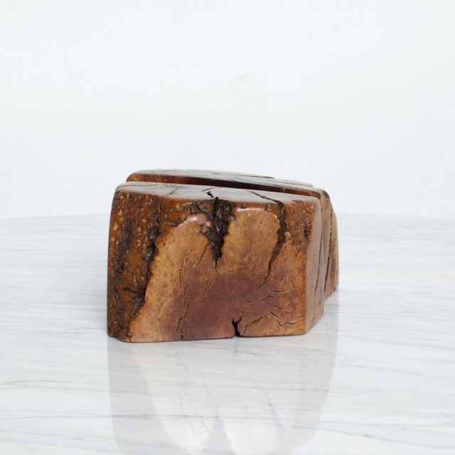 Mid Century Modern Burl Wood Bookends Attr Don Shoemaker For Sale - Image 9 of 11