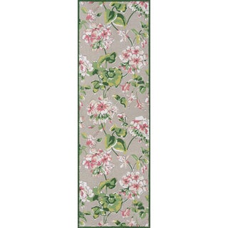 "Madcap Cottage Summer Garden Isleboro Eve Grey Area Rug 2'6"" X 8' Runner For Sale"