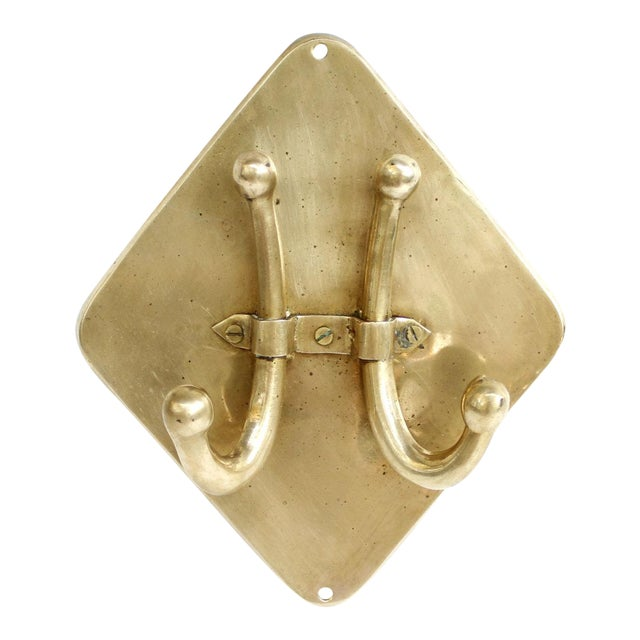Vintage Mid-Century Brass Double Wall Towel Hook - Image 1 of 6