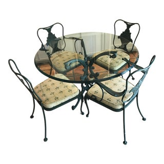 Vintage Woodard Wrought Iron Dining Set For Sale