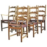 Image of Set of 6 Dining Chairs in Cerused Oak by Axel Einar Hjorth, Circa 1940 For Sale