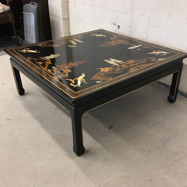 Asian Vintage Asian Style Black Hand-Painted Coffee Table For Sale - Image 3 of 12