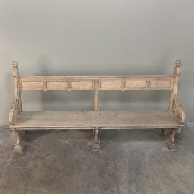 19th Century Gothic Stripped Oak Church Pew For Sale - Image 11 of 13