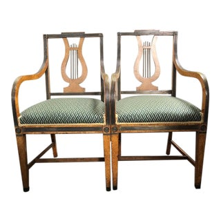 Russian Lyre Back Arm Chairs - a Pair For Sale