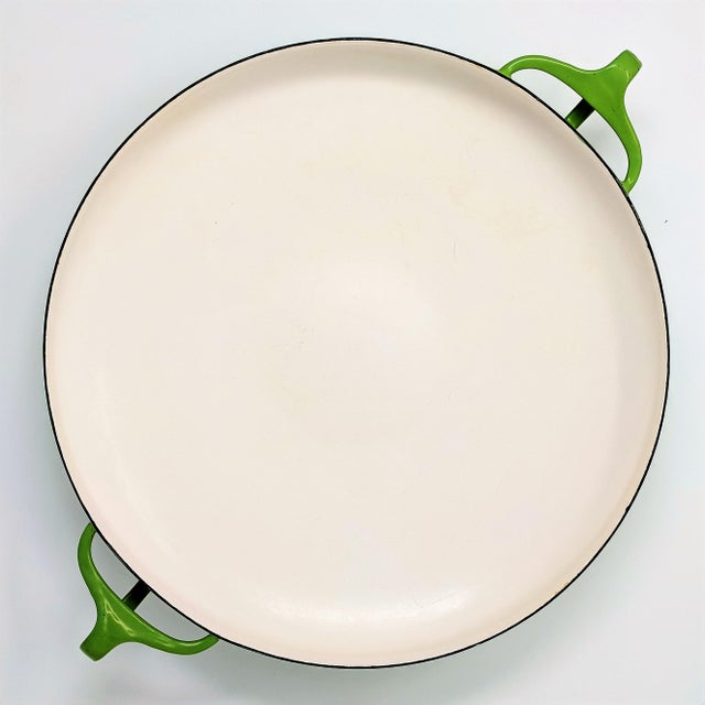 Rare 1955 Dansk IHQ Kobenstyle paella pan in lime green, designed by Jens Quistgaard, and made in Denmark. Dansk only...