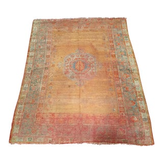 Antique 19th Century Turkish Oushak Rug - 4′5″ × 5′2″ For Sale