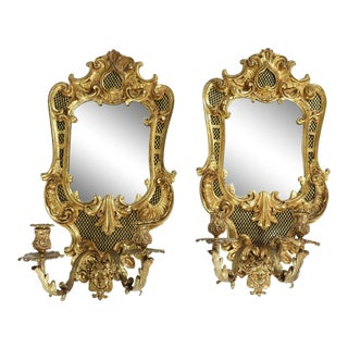 Late 19th Century Bronze Mirrored Back Sconces - a Pair For Sale