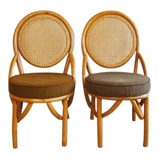 1950s Vintage Rattan Dining Side Chairs- a Pair For Sale