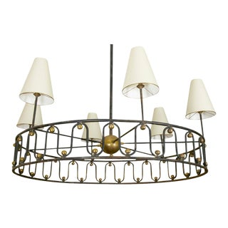 "Jean Royere Vintage Documented Rarest Model ""Ondulation"" Big Chandelier For Sale"