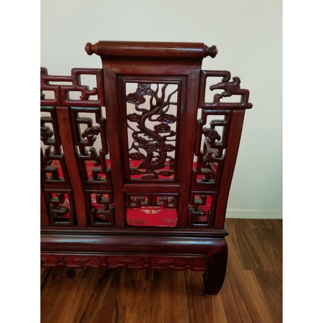 Vintage Mid Century Asian Carved Rosewood Settee For Sale - Image 10 of 12
