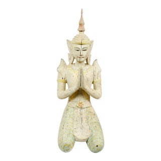 19th Century Figurative White Polychrome Kneeling Thai Figure