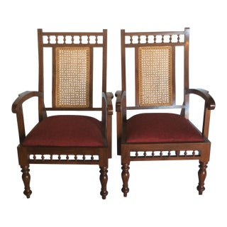 Custom-Made Indian Teak & Cane Chairs - Pair
