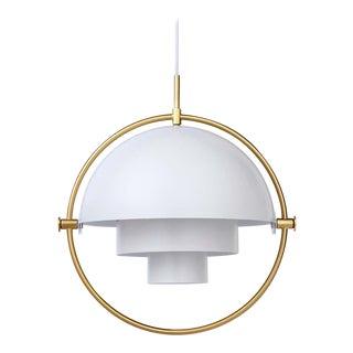 White and Brass Gubi Multi-Lite Pendant For Sale