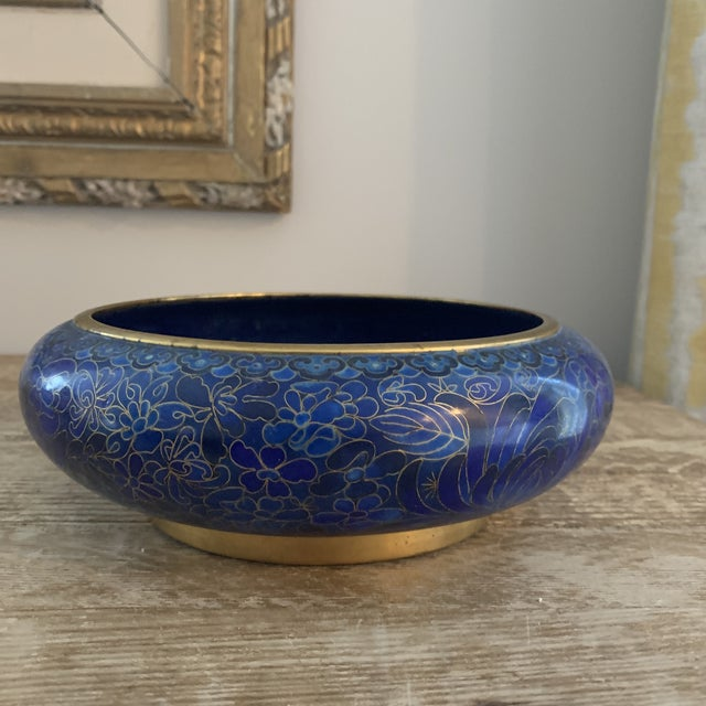 Beautiful Chinese blue cloisonné bowl with brass base. Beautiful for a centerpiece