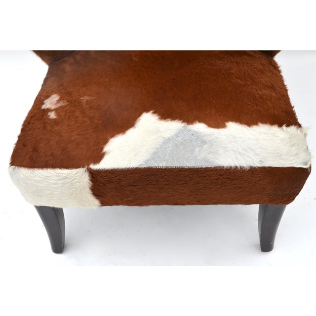 White Vintage Cowhide Chair For Sale - Image 8 of 9