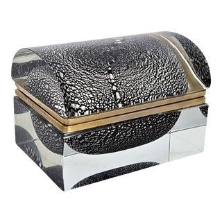 Rare Silver Leaf and Black Murano Domed Glass Sommerso Box by Alessandro Mandruzzato --Italian Venetian Mid Century Modern Art Deco Hollywood Regency