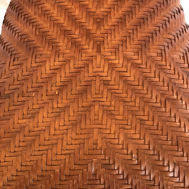 Iron and Woven Leather Bar Stools - a Pair For Sale In Richmond - Image 6 of 12