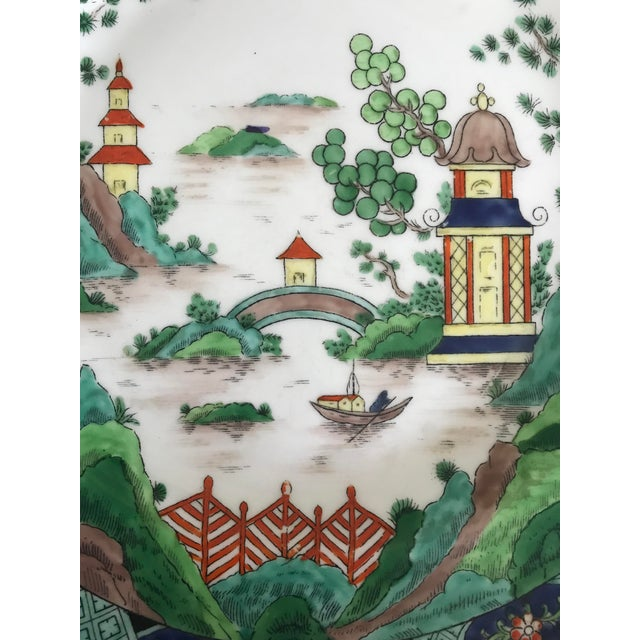 Asian Rare Crown Staffordshire Handpainted Chinoiserie Multicolor Plate For Sale - Image 3 of 6