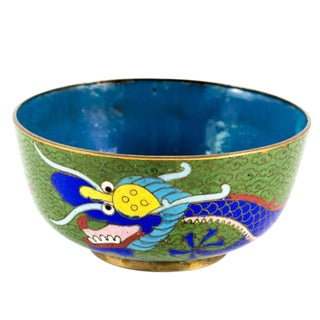 19th Century Antique Chinese Cloisonne Dragon Bowl For Sale