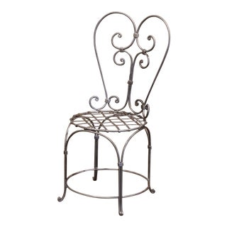 19th Century French Louis XV Polished Iron Armchair For Sale