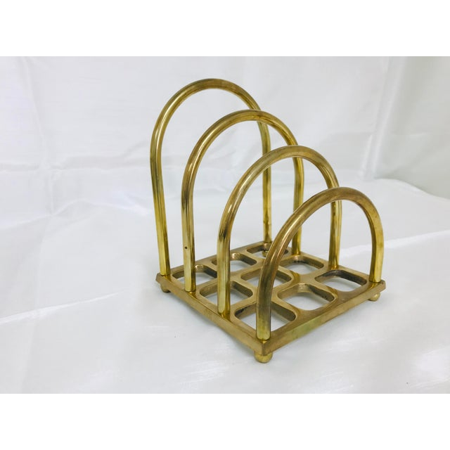 1960s vintage brass file/magazine/letter hold desk accessory. In the style of art deco.