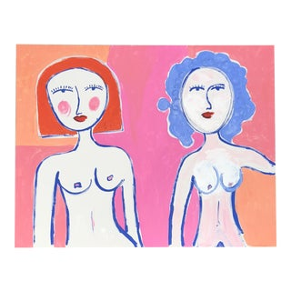 Two Abstract Nudes in Pink and Orange