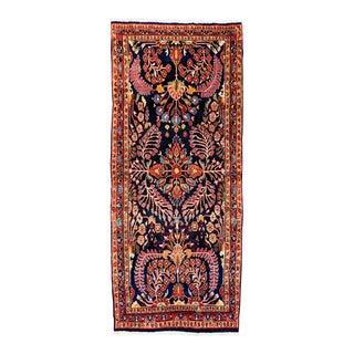 "Vintage Persian Sarouk Blue Rug- 4'3"" X 9'10"" For Sale"