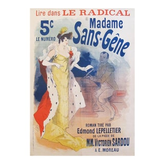 1894 Original French Belle Epoque Poster, Madame Sans Gene by Jules Cheret For Sale