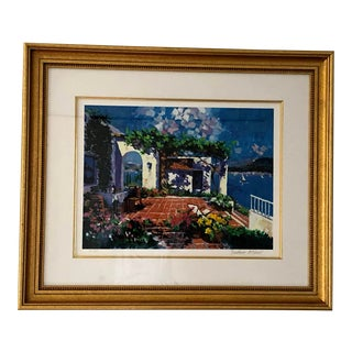 "2000s ""Terrace by the Sea"" Landscape Limited Edition Serigraph by Barbara McCann, Framed For Sale"