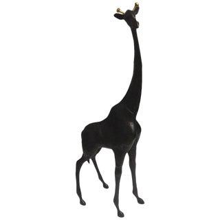 Striking Large Whimsical Bronze & Brass Giraffe Sculpture For Sale
