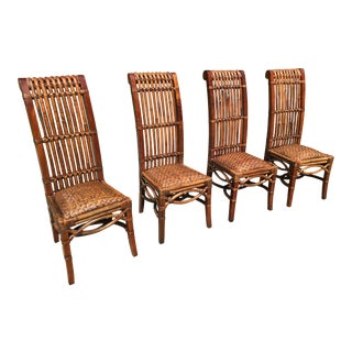 King Throne Mahogany, Bamboo, Rattan Side Chairs - Set of 4 For Sale